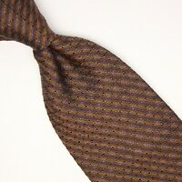Diva Mens Silk Necktie Brown Bronze Blue Check Textured Weave Woven Tie Italy