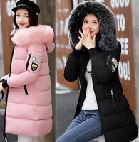 womens Winter Down Jacket Warm Padded down hoody Coat fur hood Parka outwear