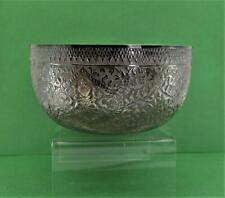 Chinese Asian sterling silver Repousse Bowl Buddha flower Detail  chop marks