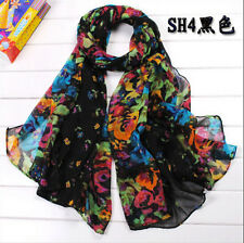 chic Beautiful Candy Long Crinkle Soft Scarf Wrap Wraps Shawl Flower Black 4-1