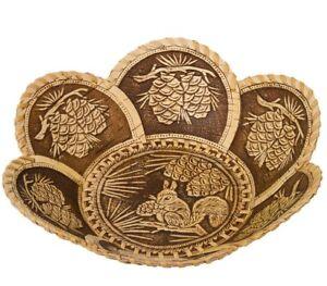 "9"" Birch Bark Round Plate Serving Dish Bowl with Squirrel Art. Handmade Russia"