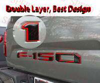 3D Raised Tailgate Inserts Decals Letters for 2018-2020 Ford F150 Black Red