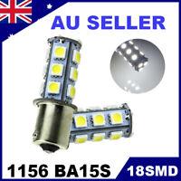 2pcs 12V LED BA15D LIGHT GLOBE WHITE 18 SMD 5050 Caravan Car Auto Indicator