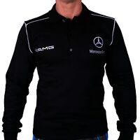 T-shirt Polo manches longues Меrсеdеs АМG Веnz Col montant Coton brodé noir 63