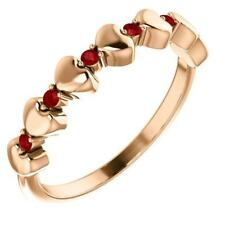 14K Rose Gold Stackable Ruby Heart Ring