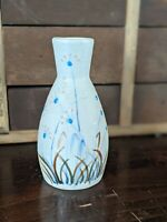 Hand Painted Floral and Grass Raised Texture Bud Ceramic Vase 5""