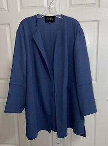Lafayette 148 New York Blue Wool Open Front Blazer Jacket Plus Size 20W Pockets