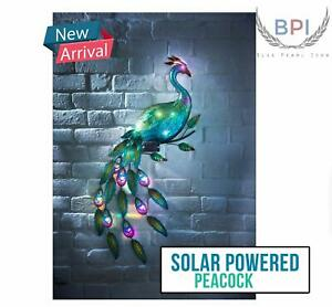 New LED Automatic Solar Powered Peacock Metal Garden Ornament Decoration