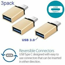 x3 (3pack) USB-C Type C 3.1 Male to USB 3.0 Female Converter Adapter OTG Gold