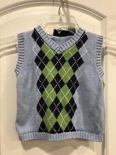 J Khaki Kids 2T Boys Sweater Vest Light Blue With Green And Black Argyle Knit