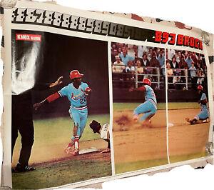 """1977 Lou Brock 892 & 893 Stolen Base Poster St Louis Cardinals Mancave 23x36.5"""""""