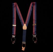 BROOKS BROTHERS Suspenders in Navy Blue Burgundy Red Broad Stripe Silk Brass