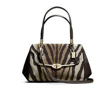NWT COACH 26634 MADISON SMALL MADELINE EAST/WEST SATCHEL IN ZEBRA PRINT FABRIC