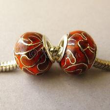 2PCs Maroon Red Cloisonne Enamel Beads For European Style Charm Bracelets