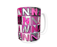 ANNA Coffee Mug / Cup featuring the name in photos of PINK sign letters