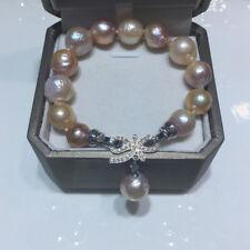 charming 11-12mm south sea baroque multicolor pearl bracelet 7.5-8inch