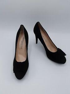 Gastone Lucioli Women's Camoscio Black Suede Bow Pumps Eur 39.5 US 9