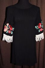 ~ LADY'S WORLD~SIZE SMALL BLACK TUNIC TOP/ DRESS~ EMBROIDERED & FRINGE SLEEVES