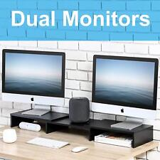 FITUEYES Monitor Riser Desktop Screen Stand for Computer Laptop TV, Wood