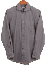 Eton Slim Fit Gray Striped Pink Pindot 100% Cotton Dress Shirt 15.75 / 40