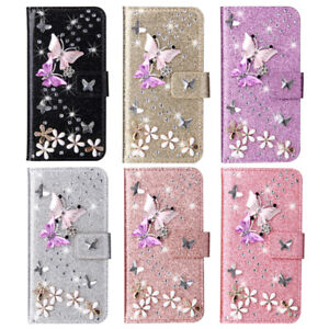 For iPhone X XS Max XR 8 7 11 Bling Diamond Flip Leather Wallet Stand Case Cover