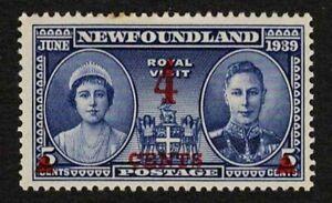 Newfoundland 1939 Sc#251 Royal Visit Surcharge 4c on 5c Mint HR MHR