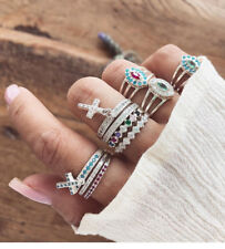 10 x Diamond Crystal Rhinestone Gem Cross Midi Mid Finger Knuckle Band Rings Set