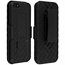 For iPhone SE / 5S - HARD HOLSTER KICKSTAND SKIN CASE COVER with BELT CLIP BLACK