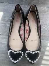 FLOOZIE Pearly heart black patent slip on flat ballet pump uk 4