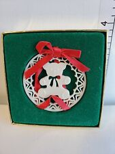 Vtg Lenox Teddy Bear Yuletide Pierced China Christmas Ornament White w/ Box (B)