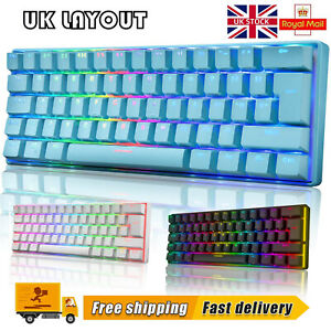 UK Layout 60% True Mechanical Gaming Keyboard Wired 61 Keys RGB Backlit For PC