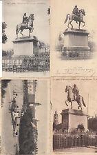 Lot 4 cartes postales anciennes LYON statue de louis XIV