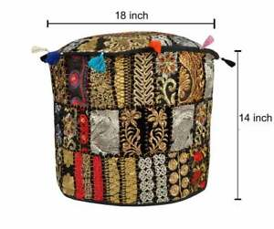 "Indian 18"" Seating Footstool Ottoman & Pouf Cover Handmade Patchwork Vintage Art"
