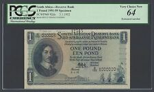 South Africa One Pound 3-1-1952 P92ds Specimen Uncirculated