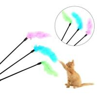 Pet Teaser Turkey Feather Interactive Fun Toy Wire Chaser Wand For Cat Xmas Gift