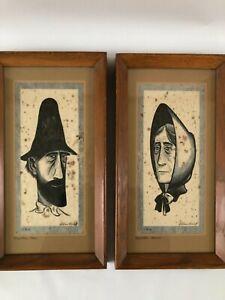 Original Wood Block Prints Mountain Man Woman Framed William Kosloff Americana