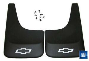 Silverado S10 Black Contoured Mudflaps Mud Flaps W/ Logo NEW GENUINE GM PAIR 391