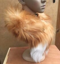 ginger white genuine real fox tail fur collar scarf neck warmer shawl stole