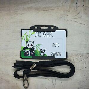 Personalised PANDA ZOO Keeper Children's ID Card With Breakaway Lanyard toy