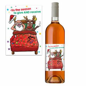 Funny Christmas Wine Bottle Label Rude Xmas Gift Idea For Men & Women