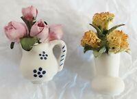 lot de 2 bouquets de fleurs en biscuit polychrome vintage finement travaillé 4