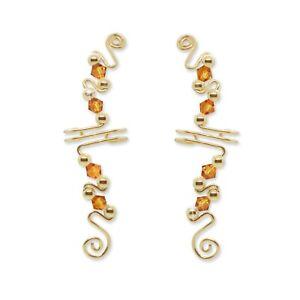 Ear Wraps Cuffs Climbers Crawlers Earrings Gold w/ Swarovski Topaz Crystals #171