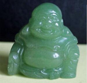 Maitreya Laughing Buddha Hand carved Aventurine Figurine AAA+