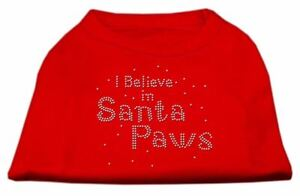 I Believe in Santa Paws Dog Cat Pet Puppy Christmas Rhinestone Shirt