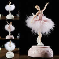 Rotating Retro Music Box Jewelry Storage Ballerina Dancing Girl Gifts Table