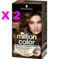 LOT 2 SCHWARZKOPF MILLION COLOR COLORATION TEINTURE COULEUR 6-68 CHATAIN FLAMBOY