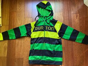 Burton Durable Goods Full-Zipper Hoodie Striped Green Sweater Medium