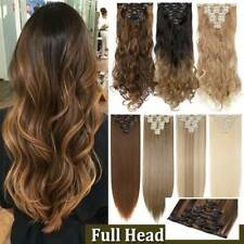 Complete 8-Piece FULL HEAD as Natural Human Clip in Hair Extensions Extentions