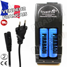 2 PILES ACCUS RECHARGEABLE 18650 3.7V 4200mAh + CHARGEUR TR-001 TRUSTFIRE RAPIDE