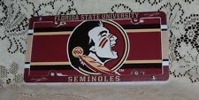 FLORIDA STATE UNIVERSITY SEMINOLES PLASTIC LICENSE PLATE TAG AND FRAME DEAL NEW